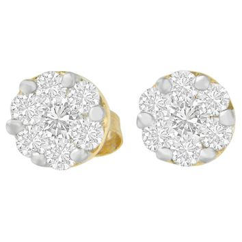 14K Yellow Gold 3/4 ct.TDW Round-cut Diamond Stud Earring(I-J,SI2-I1)