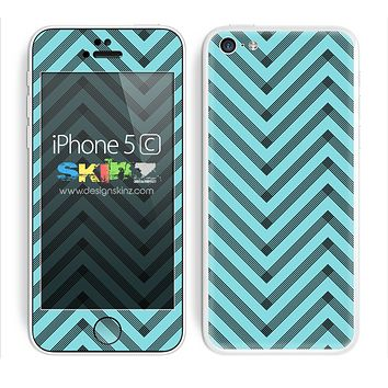 Sketched V3 Chevron Pattern Subtle Turquoise and Black Skin For The iPhone 5c