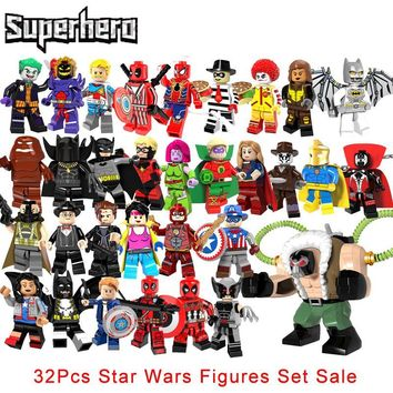 Star Wars Force Episode 1 2 3 4 5 32Pcs/Set Super Heroes Legoinglys Big Bane Wolverine Deadpool  The Flash Green Lantern Supergirl Spawn Building Bricks AT_72_6