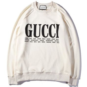 GUCCI 2018 spring and summer city name limited sweater F-CP-ZDL-YXC white