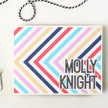 Personalized Stationery Custom Stationary Preppy Stripe Note Cards Navy Peach Coral Aqua Thank You Notes Colorful Hostess Gift / Set of 10