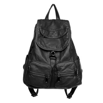 Cool Backpack school soft washed leather backpack for girls waterproof high quality vintage backpacks women large multifunctional cool bagpack womens AT_52_3