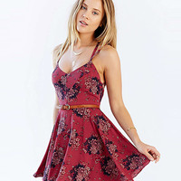 Red Strappy Back Floral Printed Chiffon Mini Dress