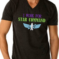 V NECK** I Work For Star Command - Men's - Buzz Lightyear Woody Jesse Disney Toy Story Star Command space ranger printed graphic shirt