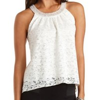 Beaded Halter Lace Swing Top by Charlotte Russe - Ivory
