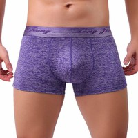 Men's Cotton Boxer Brief Shorts with Bulge Pouch