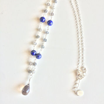 Healing Anxiety ~ Genuine Labradorite, Lapis Lazuli & Smokey Quartz Necklace on a Sterling Silver Chain