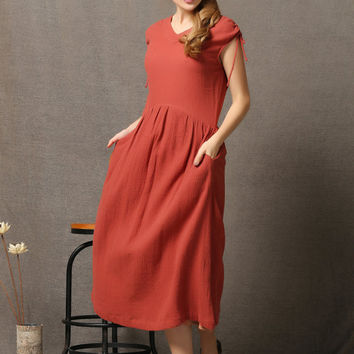 Red Linen Comfortable Everyday Maxi Dress C573