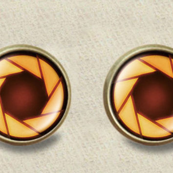 portal valve glados aperture science stud post earrings