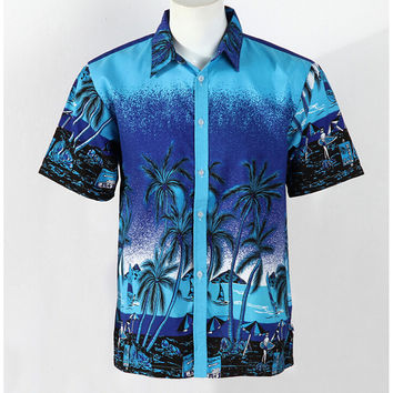 Hot LARGE SIZE Men Aloha Shirt Cruise Tropical Luau Beach Hawaiian Party Palm Gradient blue  plus fertilizer version