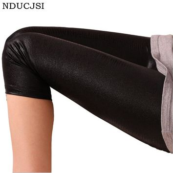 Casual Ladies Legging Neon Leather Calzas Mujer Snake Feminina Cropped Legging Seamless Stretch Women Legins Skinny Candy Color