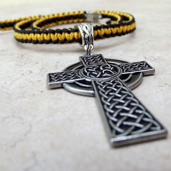 Men's Necklace:  Golden Mustard Yellow and Black Celtic Cross Macrame Hemp Cord Unisex Jewelry, Father's Day