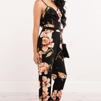Floral Jumpsuit with Cami Top and Waist Tie