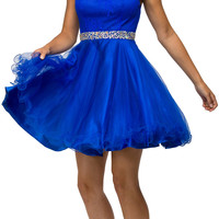 Lace Applique Jewel Neck and Waist A-line Sweet Sixteen Dress Royal Blue