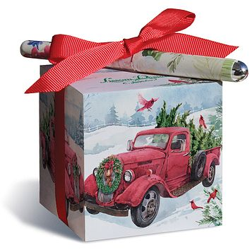 Red Truck Hauling Christmas Tree with Cardinals and Wreath Note Block and Pen Set