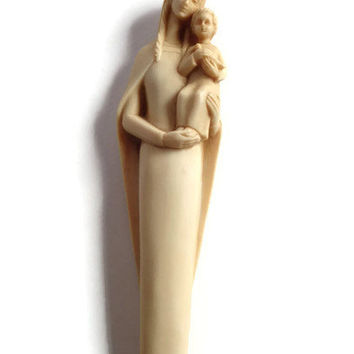 Vintage Mary and Child Wall Hanging . Madonna and Jesus Statue . Hand Carved Natural Stone .