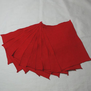 Set of 12 Vintage 1980s Linen Cocktail Napkins in True Red with Bound Borders, 7.5 x 5 Inches, Very Nice for Christmas or Valentine's Day