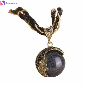 SUSENSTONE Bohemian Jewelry Statement Necklaces Women Rhinestone National wind necklace exaggerated retro necklace  #GH35