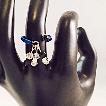 Blue wire wrapped handmade dangle charm ring