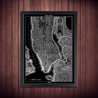 1855 New York City Street Map Vintage Black Print Poster