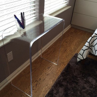 "3/4"" Clear Acrylic Lucite Desk or Console Table With Beveled Edges"
