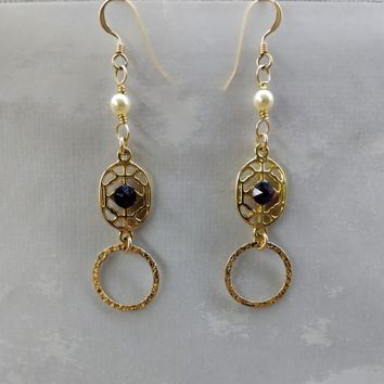 14 KT Gold Filled Hammered Circle Purple Crystal Pearl Filigree Earrings
