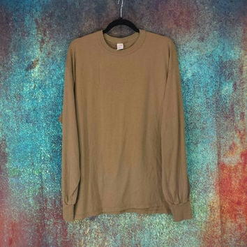 80s Soffe Army Brown Tshirt Long Sleeve Thin Worn Top Vintage 90s Grunge Burnout Discolored Distressed Tee Retro 5050 Shirt Made in USA