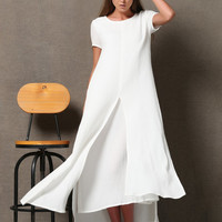 White Layered cotton Linen Dress - Loose-Fitting Short Sleeved Side Pockets Long Maxi Dress Plus-Size Clothing (C534)