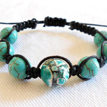 Natural Turquoise Gemstone Shamballa Macrame Braided Bracelet with Black Cord by WilwarinDesigns
