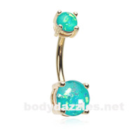 Teal Golden Opal Sparkle Prong Set 14ga  Belly Button Ring Navel Ring Body Jewelry