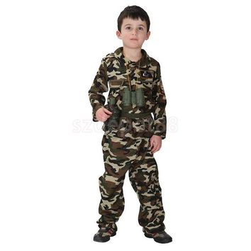 DCCKH6B Kid Boys Army Soldier Costume Uniform Child Party Fancy Dress Outfit Camo