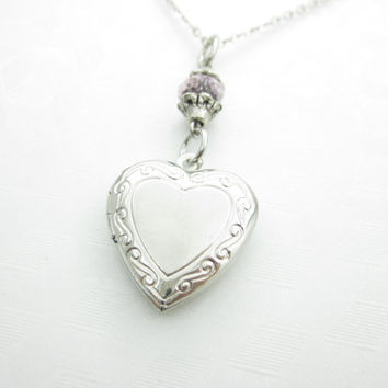Heart Locket Necklace, Sweetheart Locket, Victorian Heart, Silver Heart Locket, Keepsake Locket, Heart Necklace with Pink Crystal X034