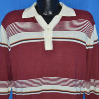 80s Maroon White Striped Polo Sweater Large