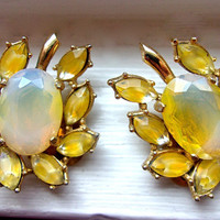 Yellow Opalescent LEDO Polcini Earrings, Flower Givre Rhinestones, Gold Tone, Signed Vintage