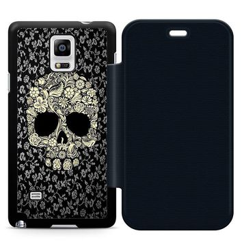 Dead sugar skull flower Leather Wallet Flip Case Samsung Galaxy Note 4