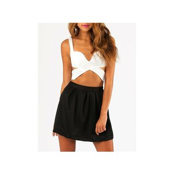 SEXY Cross Over Wrap Bustier Crop Top Black/White