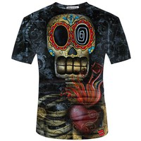 Men t- shirt 2017 New Fashion Brand  Men's Asymmetrical  skull 3D Printed t-shirt Plus Size S-5XL Casual Men Clothes Funny Skull