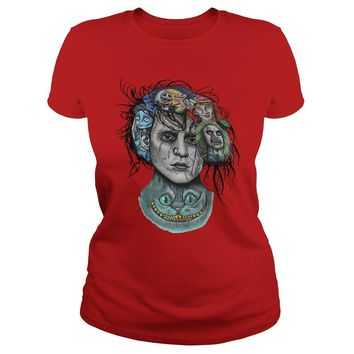 Beetlejuice, Jack and Sally Johnny Depp Cheshire Edward Scissorhands Tim burton shirt Premium Fitted Ladies Tee