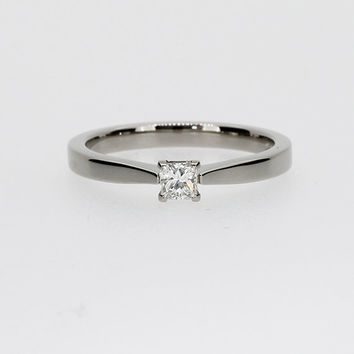 0.15ct Princess cut diamond engagement ring, 950 Platinum, diamond solitaire, Platinum solitaire, simple diamond ring, princess wedding