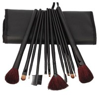 FOONEE 12 Pcs Brown Professional Cosmetic Makeup Brushes Set Kit With Black Bag