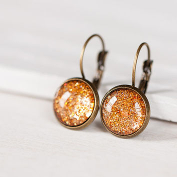 Copper Sparkle Dangle Earrings - Leverbacks