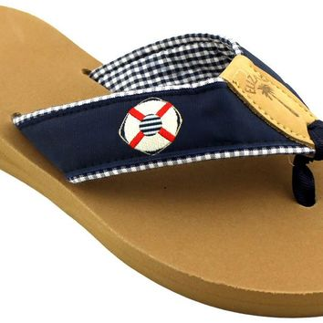 Fabric Sandal in Navy with White Life Ring by Eliza B.