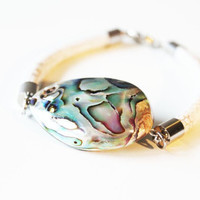 Large Abalone Shell Bracelet- Bangle Bracelet, Mother Of Pearl, Shell Bracelet, Cord Bracelet, Statement Bracelet, Boho FREE SHIPPING
