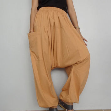 Soft Tangerine Drop crotch long trouser,Unisex harem Baggy pants, unique two tone cotton blend (Drop pants-08).