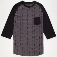 Retrofit Anchors Away Mens Baseball Tee Charcoal  In Sizes