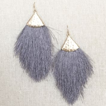 Kixters - Grey Tassel Fringe Earrings