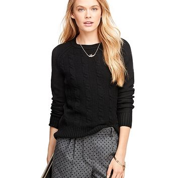 Women's Raglan Cashmere Cable Knit Sweater | Brooks Brothers