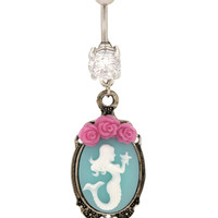 "14G 7/16"" Steel Mermaid Cameo Navel Barbell"