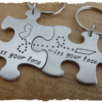 Long Distance States Map USA Relationship Love Best Friends Family BFF matching set puzzle piece couples his her ldrship gift keychain