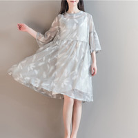 Flare Sleeve Vintage Chiffon Dress	Loose Casual Feather Print Women Summer Dress Knee Length Robe Femme Ete